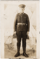 Photograph of  soldier [at camp]