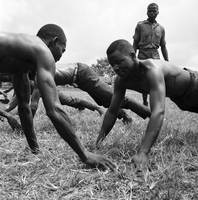 Biafra, Africa : Instructor Looks on as Biafrans Train in Hand Combat
