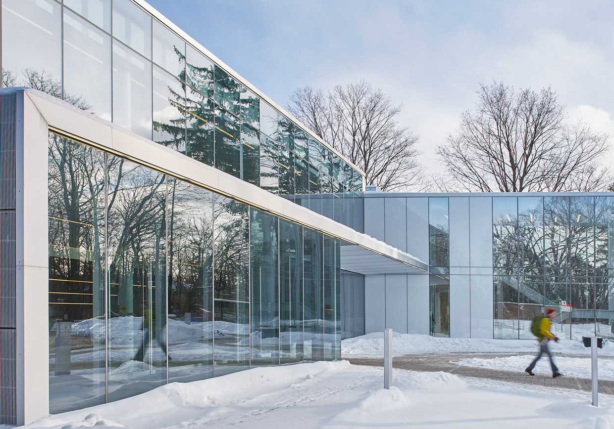 COE side view of entrance in the winter
