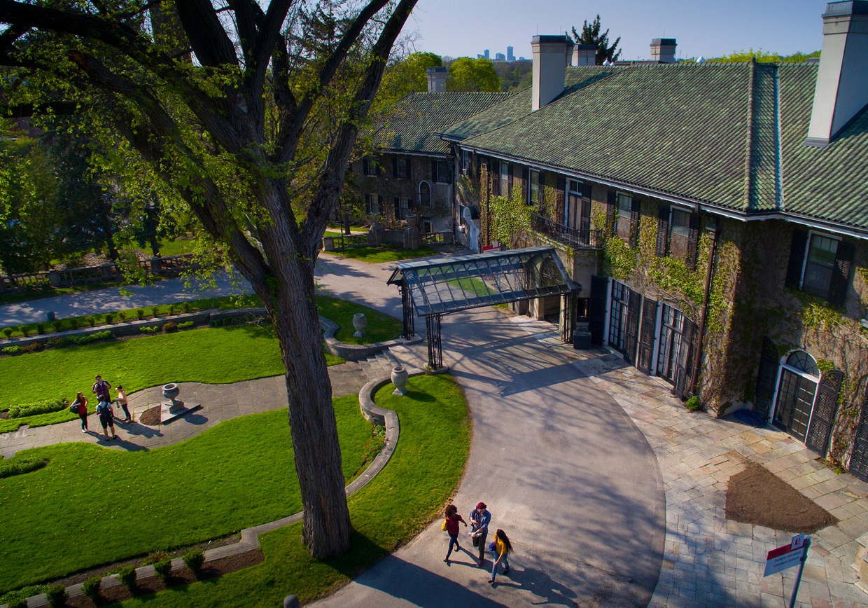 Aerial view of the Glendon Manor in the summer