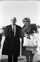 Andreas Papandreou and Margaret Papandreou (holding a bouquet of flowers) shortly after arriving at Toronto International Airport.