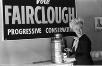Ellen Fairclough, Postmaster General, and Progressive Conservative candidate for Hamilton West, at a campaign function for 1963 federal election.