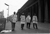 Railway strike pickets outside Union Station