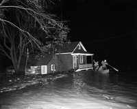Hurricane Hazel : Weston : Men in boat patrolling flooded areas