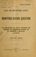 legal and constitutional aspects of the Manitoba school question