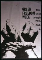 "Poster - York University -1972 – November Greek Freedom Week – organized by ""Students for a Free Greece"""