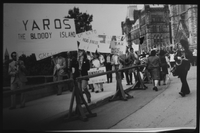 "One of the last demonstrations against the dictatorship in Greece – outside Ottawa Parliament – ""Yaros the bloody island"""
