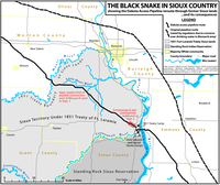 The black snake in Sioux country showing the Dakota Access Pipeline reroute through former Sioux lands and its consequences