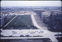 Looking west from Vanier Residence - Farquharson Life Sciences and Steacie Science Library on left. Tait McKenzie Physical Education and Athletic Centre on right - note absence of Egdeley buildings