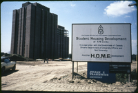 Graduate Student Residences No. 3 under construction - OSHC sign