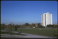 Vanier College from mound - landscaping - fall colours