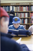 Kids in a library.