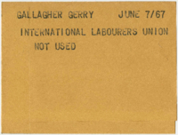 Gallagher, Gerry : International Labourers Union [not used]