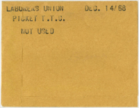 File consists of front and back of envelope and four contact sheets. Assignment: Laborer's Union : Local 183, picket T.T.C. HQ. [not used]