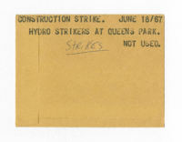 Construction Strike :  Hydro Strikers at Queens Park : Strikes [not used]