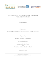 Development of Options for A Vehicle Feebate in Canada - Final Report