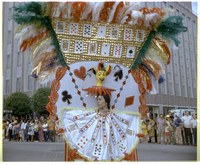 Woman in Caribana parade in costume portraying queen in a deck of cards