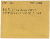 City Hall. Board of Control study drawings for new City Hall