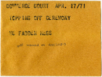 Commerce Court : Topping off Ceremony : Mc Fadden Negs