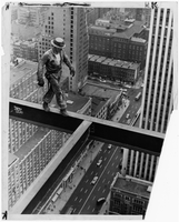 Construction worker walking on high steel