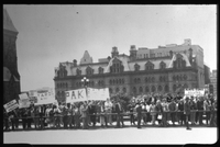 Demonstration outside of the Federal Parliament in Ottawa. The last demonstration before fall of the Junta in Greece.