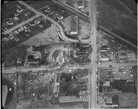 "Aerial view of the site of gas fire, no longer in progress, at the ""Four Corners"" (the intersection of Airport and Derry Road) in Malton."
