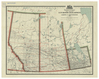 Map showing R.N.W. mounted police districts in Alberta and Saskatchewan, 1909
