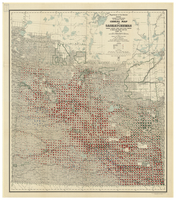 Cereal map of Saskatchewan, showing acreage under crop in each township in wheat, oats, barley and flax during 1915