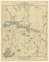 Map of Abitibi region : indicating the surveyed townships traversed by the Transcontinental and those projected lying to the south of this line of railway [South]