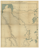 Map of Abitibi region : indicating the surveyed townships traversed by the Transcontinental and those projected lying to the south of this line of railway [North]