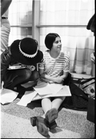 "Forest Hill Collegiate student, Cathy Pike (striped shirt), during a sit-in to protest her two-week suspension, for distributing a ""radical"" student newspaper ""The Guard"""