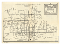 Public transportation service in Toronto and adjoining municipalities : route map [front]