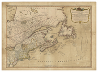 A New and correct map of the British colonies in North America comprehending eastern Canada with the province of Quebec, New Brunswick, Nova Scotia, and the Government of Newfoundland : with the adjacent states of New England, Vermont, New York ...