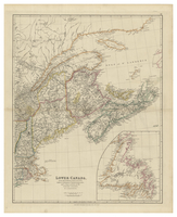 Lower Canada, New Brunswick, Nova Scotia, Prince Edward Is. Newfoundland and a large portion of the United States. By J. Arrowsmith.