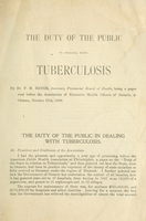 The duty of the public in dealing with tuberculosis