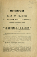Speech by Mr. Mulock at Massey Hall, Toronto, on 22nd of February, 1896, on remedial legislation