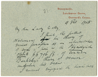 Letter to VW from James Sully 11 February 1908