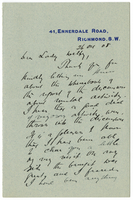 Letter to VW from James Sully 26 October 1908