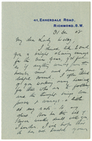 Letter to VW from James Sully 31 December 1908