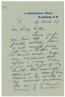 Letter to VW from James Sully 12 March 1909