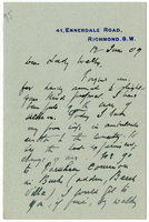 Letter to VW from James Sully 12 June 1909