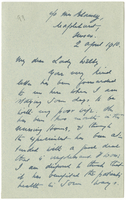 Letter to VW from James Sully 2 April 1910
