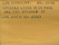 Long Branch, Ont. : Officials Listen in on Phone Call from Officials at Long Branch New Jersey