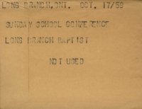 Long Branch, Ont. : Sunday School Conference. : Long Branch Baptist [not used]