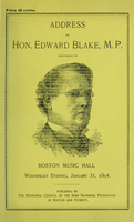 Address delivered in Boston Music Hall, Wednesday evening, January 31, 1894