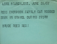 Long Branch, Ont. : Ross Thompson Family Car Bogged Down in Gravel During Storm