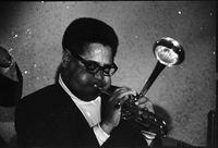 Image of American jazz trumpeter, Dizzy Gillespie, in performance in Toronto (at the Colonial Tavern on Yonge Street).