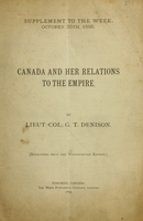 Canada and her relations to the Empire
