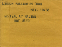 London Palladium Show. : Arrival at Malton [not used]