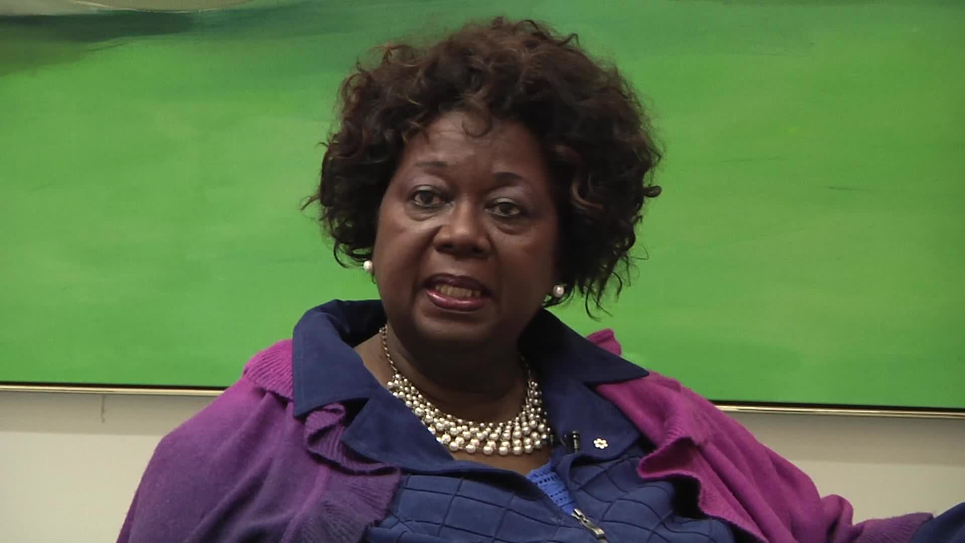 Jean Augustine interview: International Black Women's Congress button